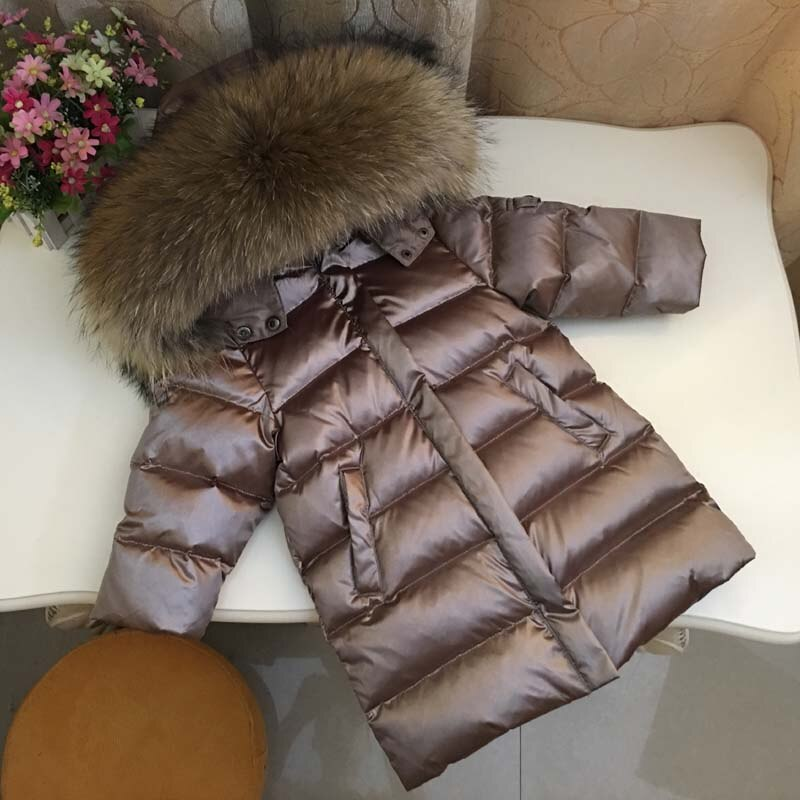 2019 New Winter Children Down Jacket Toddler Baby Boys Girls Thicken Real Fur Collar Outerwear Kids Parkas Coat Dwq461