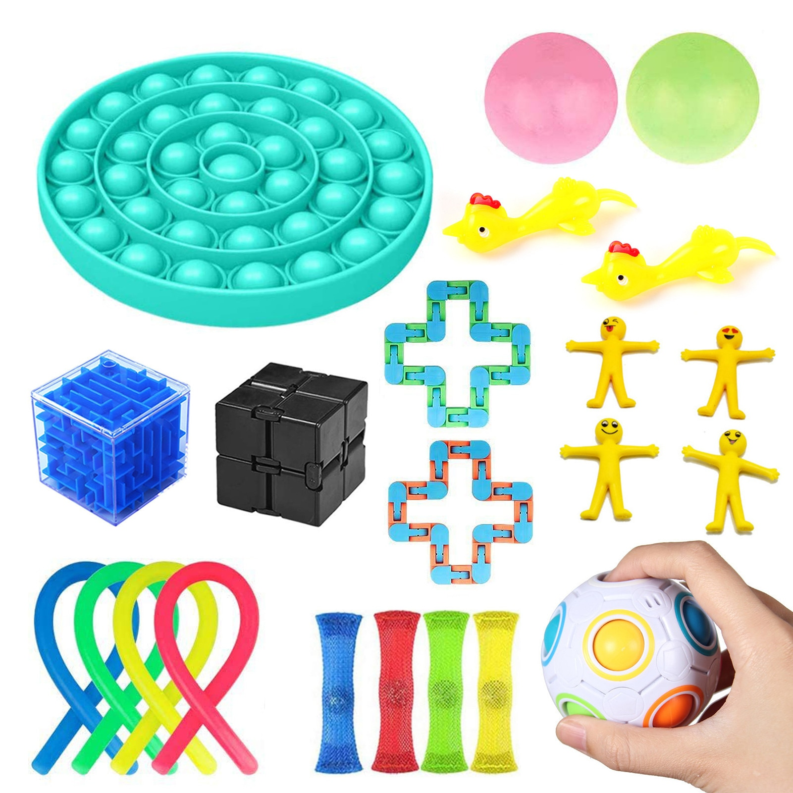 24 PackSensory Toy Set Stress Relief Toys Pressure Ball Noodle Rope For Kids Adults Autism Decompression Toy Puzzle Game