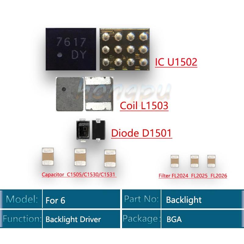 5 Juegos por lote (50 unidades) controlador de luz trasera IC para iphone 6 Kit de retroiluminación IC U1502 + bobina L1503 + diodo D1501 + condensador C1530 filtro FL2024