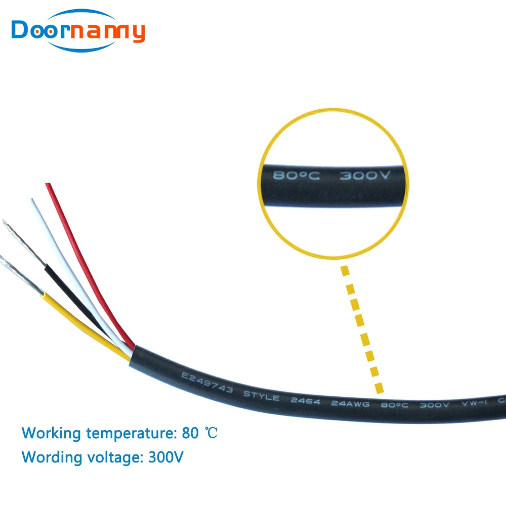 Doornanny 20M Intercom System 4 Wires Cable Video Surveillance Videocam 4 Wires Cable 4*0.12mm 20Meters enlarge