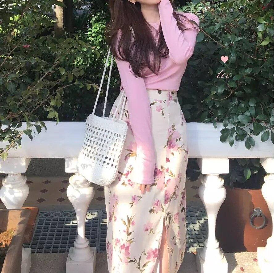 Conjunto de falda de dos piezas para mujer, conjunto de Top y falda de manga larga, blusas finas de cuello redondo y cintura alta, falda de playa informal Vintage Floral