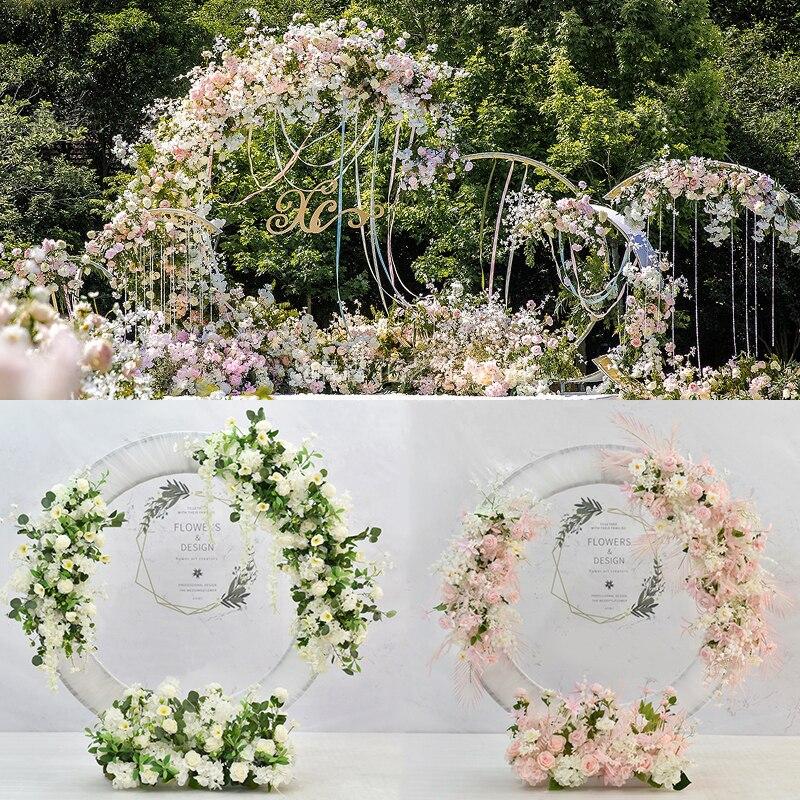 JAROWN-خاتم على شكل صف من الزهور الاصطناعية للزفاف ، زخرفة نباتية ، لحفل الزفاف ، حفلة ، تصوير الخلفية