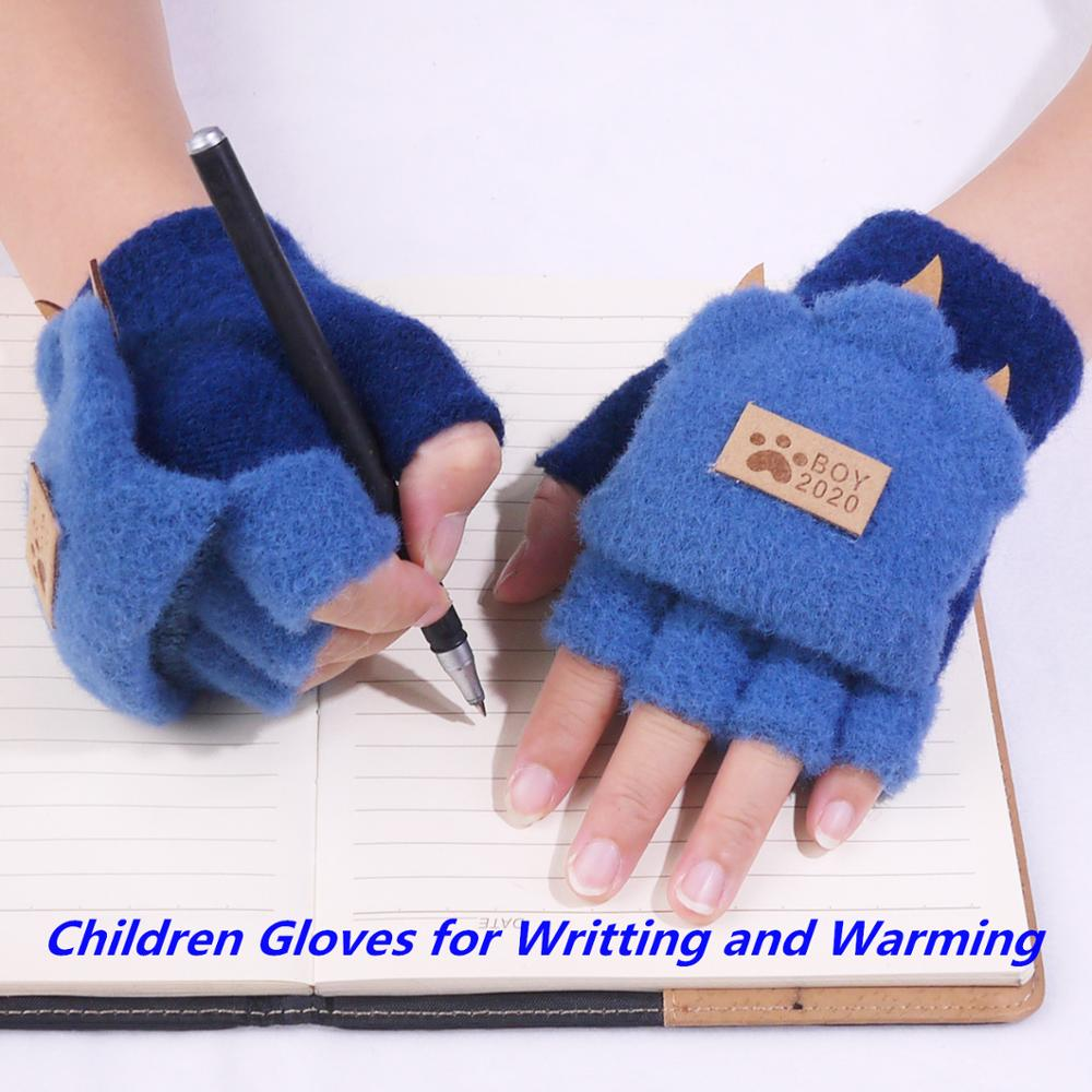 Winter Boys Fingerless Gloves Kids Flip Cover Cute Animal Warm Knitted Stretch Touch Screen Students