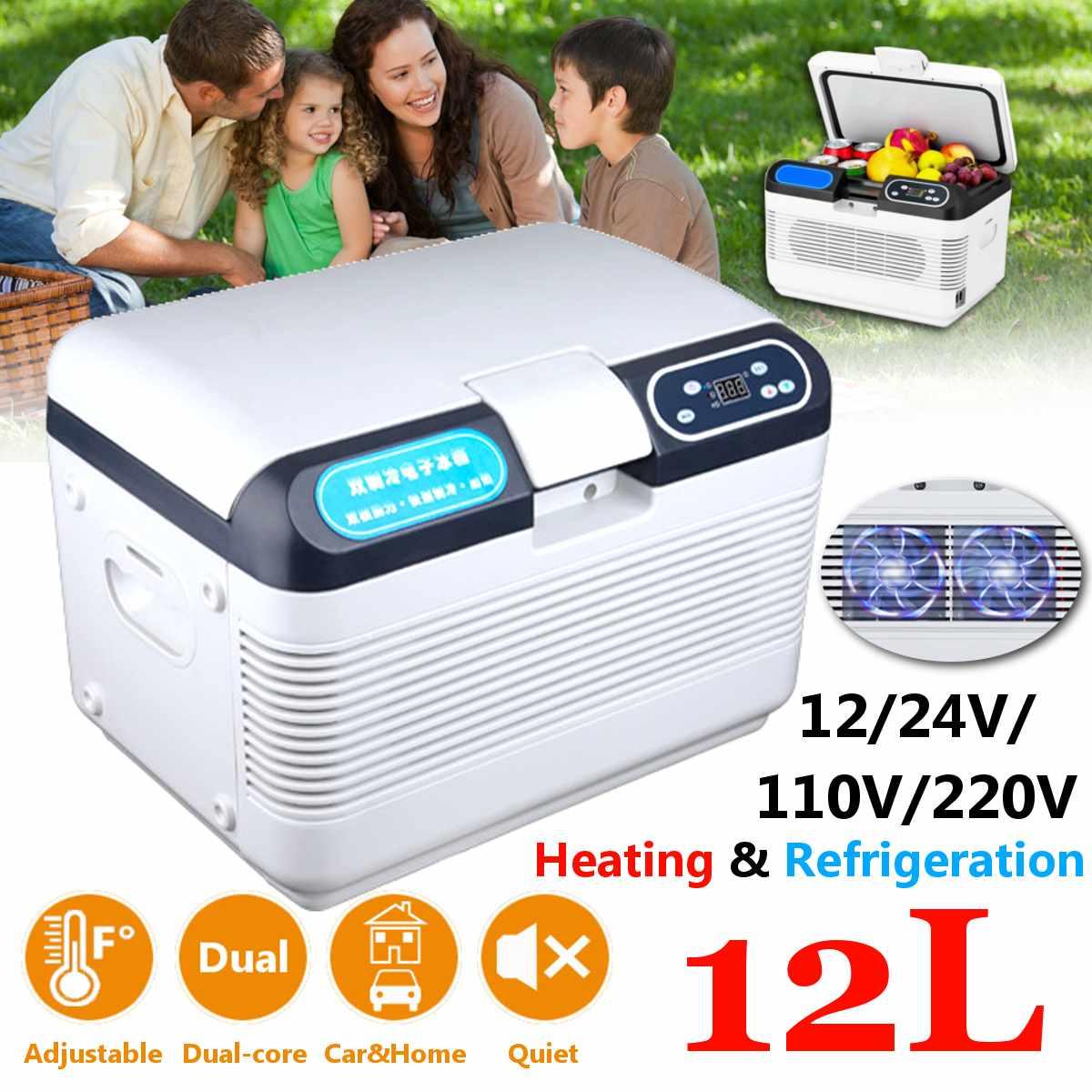 Mini refrigerador do carro 12v 220v 24v 220v 12l auto viagem refrigerador abs casa congelador quente portátil multi-função