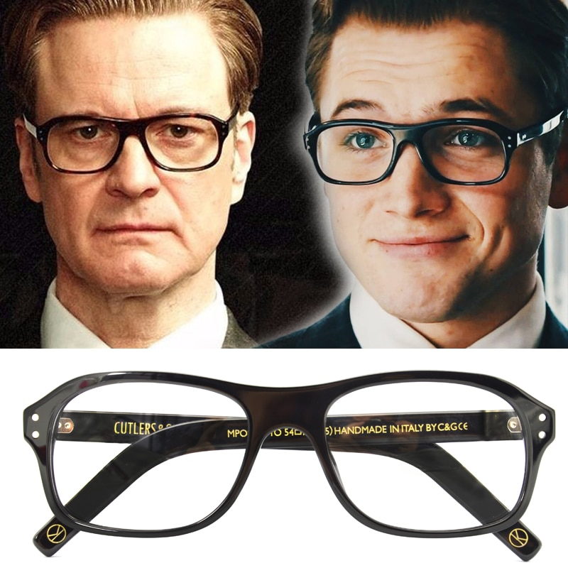 Kingsman óculos cosplay topo acetato quadro claro lente eyewear serviço secreto círculo dourado eggys para o homem estilo britânico
