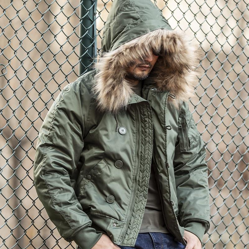 Thoshine Brand Winter Men Thermal Parkas Short Fashion Windbreakers Fur Collar Outdoor Jackets Hoode