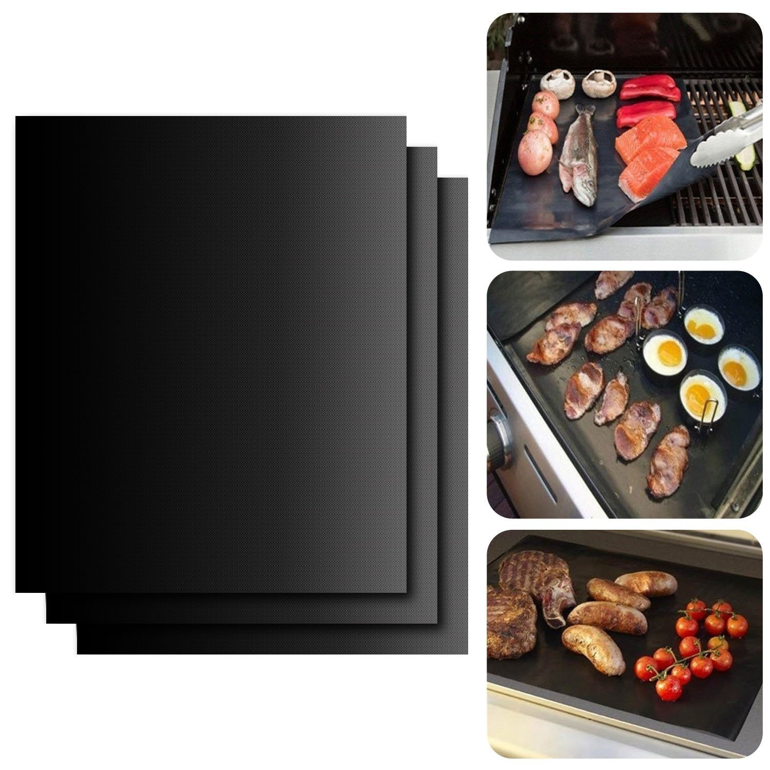 BBQ Grill Mat Barbecue Outdoor Baking Non-stick Pad Reusable Cooking Plate 40 * 30cm for Party PTFE Grill Mat Accessories
