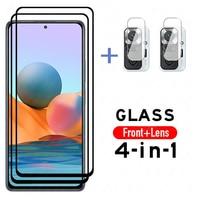 Чехол для Redmi Note 10, стеклянная пленка для экрана, Защитное стекло для Xiaomi Redmi Note 10 Pro, объектив камеры, прозрачное стекло