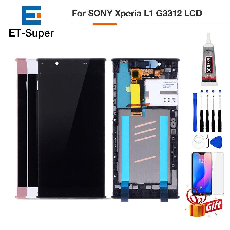 Pantalla LCD Original de 5,5 pulgadas para Sony Xperia L1 G3312 pantalla táctil digitalizador Sensor Panel montaje G3311 G3313 piezas de repuesto con marco + vidrio templado libre + pegamento + herramientas de reparaci