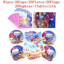 Shimmer and Shine Kids Girl Happy Birthday Party Supplies Baby Shower Party Decoration Paper Cup Pla