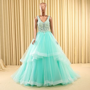 V Neck Sleeveless Dresses Quinceanera Dresses With Applique Sexy See Through Beaded Puffy Dresses For 15 Anos Ball Prom Gowns
