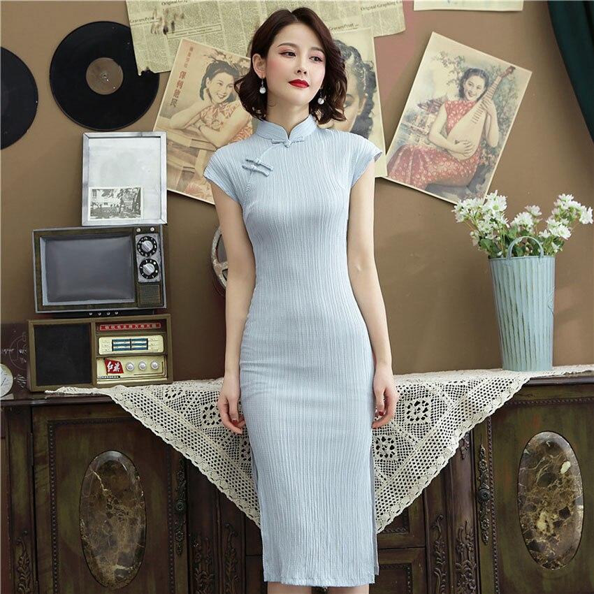 Vestidos de Boda China tradicional para mujeres Oriental elegante clásico Delgado Cheongsam algodón Lino largo QIpao señora banquete