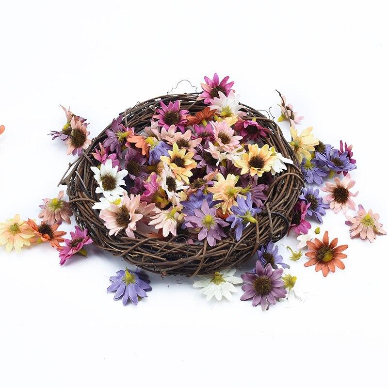 Flores decorativas de 30/50/100 piezas, MINI estambres de girasol, adornos navideños para el hogar, caja de caramelos de regalo diy, flores artificiales