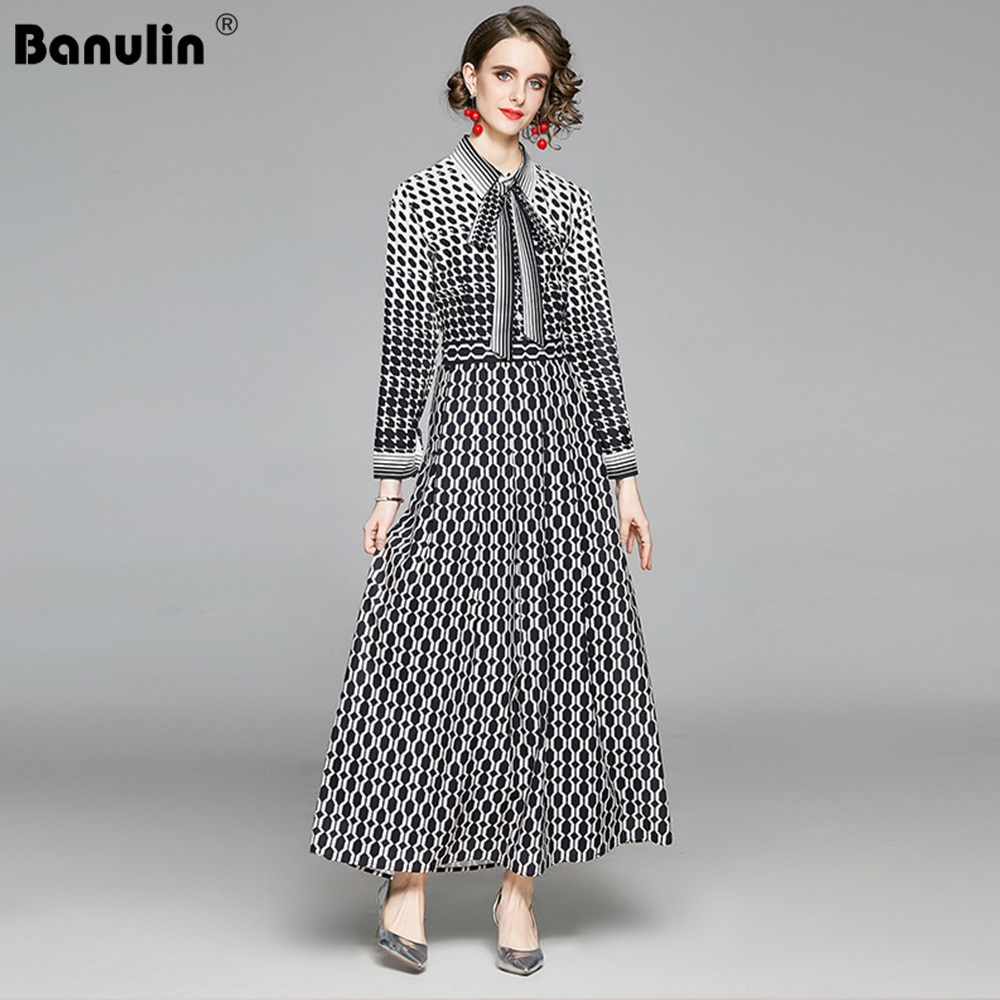 Women Spring Summer Autumn Elegant Casual Vintage Printed Shirt Dresses Single Breasted Office Lady Party Runway maxi Long Dress