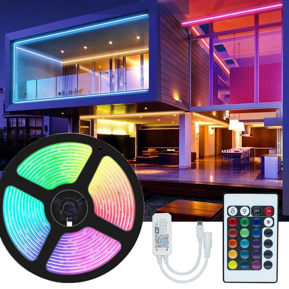 Пасха WIFI контроллер LED ленты SMD 5050 Гибкие светодиодные диода DC12V 5 м Luz Led цветная (RGB)