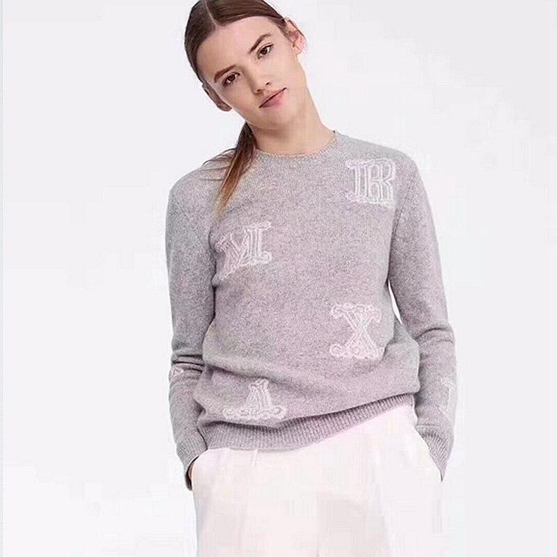 Suéter con letras de Cachemira 100% para mujer exquisito diseño Simple cuello redondo manga larga 4 colores jerseys casuales para mujer