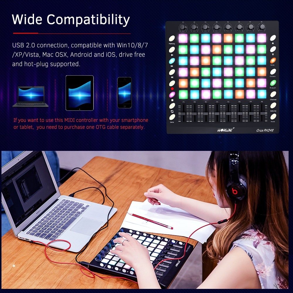MIDI Keyboard Pad Controller 16 Drum Pads USB MIDI Drum Pad Controller 48 Pads RGB Backlit DJ Remix Worlde ORCA PAD48 PRO enlarge