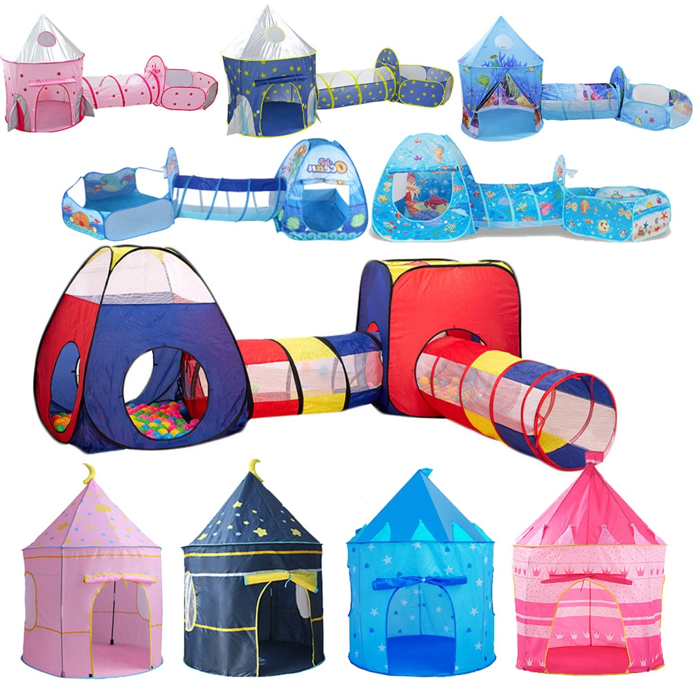 Portable 3 In1 Baby Tent Kid Crawling Tunnel Play Tent House Ball Pit Pool Tent for Children Toy Ball Pool Ocean Ball Holder Set