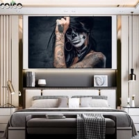 african art black woman joker wall art canvas painting black poster and prints character portrait picture for living room frame