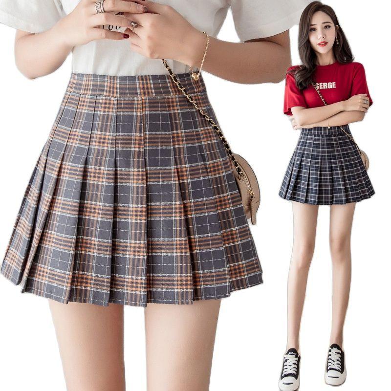 Hot Selling Female Plaid Pleated Skirt Spring And Summer School Style Skirt A Line Skirt High Waist Short Skirt Pants