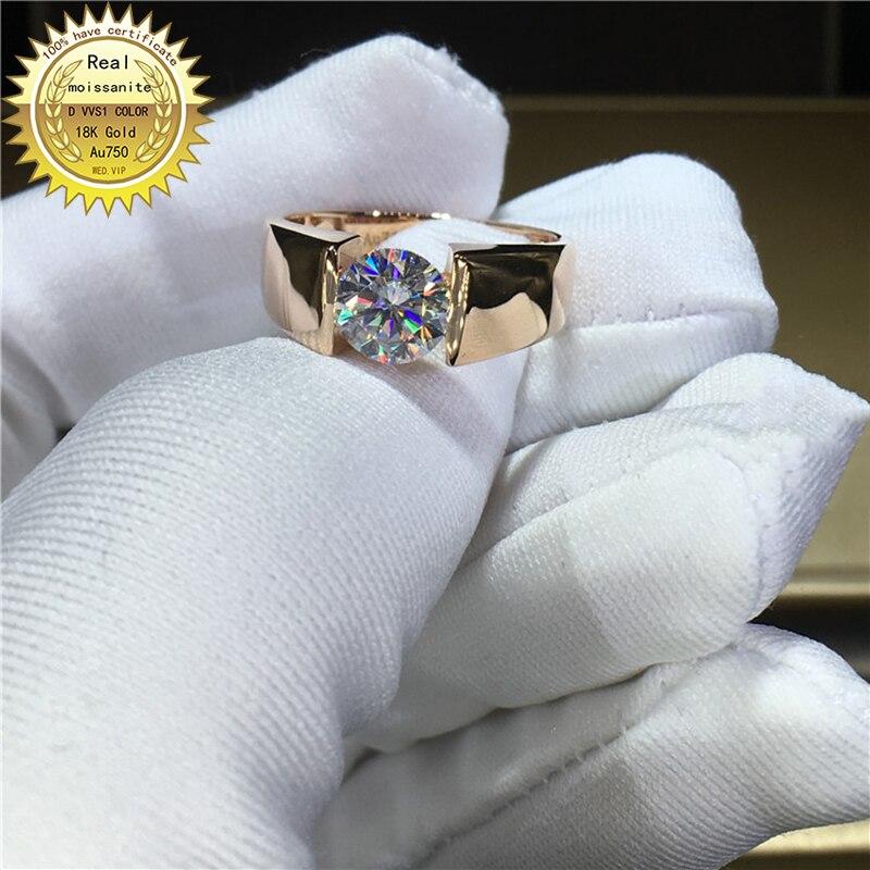 Anillo de oro de 18K 1ct D VVS moissanita anillo de compromiso y joyería de boda con certificado