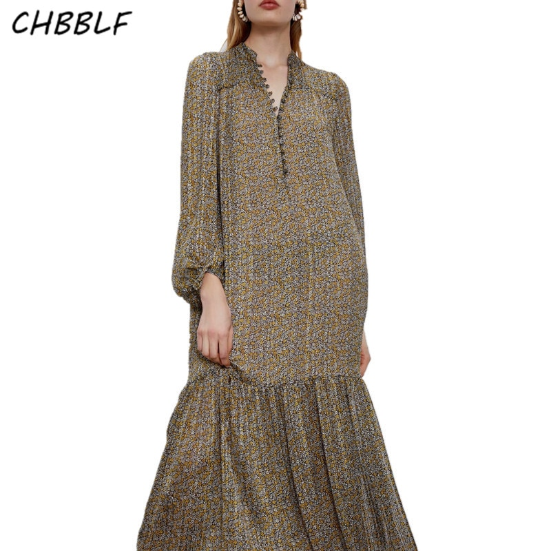 CHBBLF-vestido midi informal elegante para mujer, vestido plisado de una botonadura con farol y manga larga XZ2306