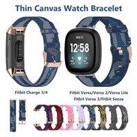 Ремешок для Fitbit Charge 3 4 Band, мягкая нейлоновая ткань, спортивный сменный ультратонкий Браслет для Fitbit Sense / Versa 2 3, синий