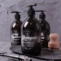 Bouteille de savon pour animaux de compagnie  style nordique  marron  pour salle de bain  Gel douche  rechargeable  pour shampoing  shampoing  apres-shampoing  Lotions  distributeur a pression  500ml