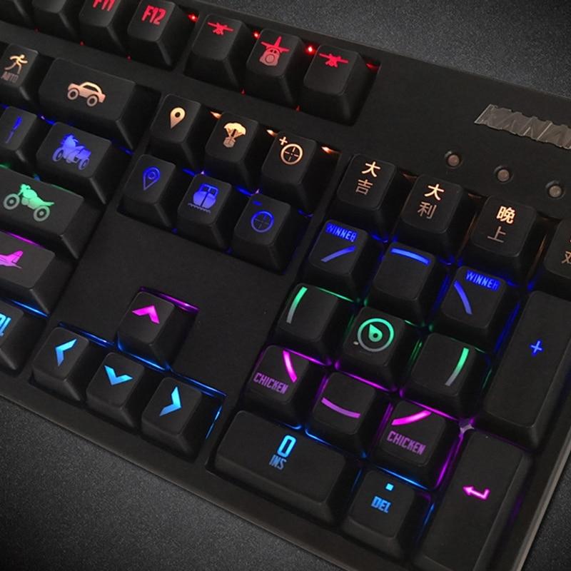 قبعات مفاتيح RGB 108 بأضواء خلفية لساحات القتال ANSI أغطية مفاتيح PUBG