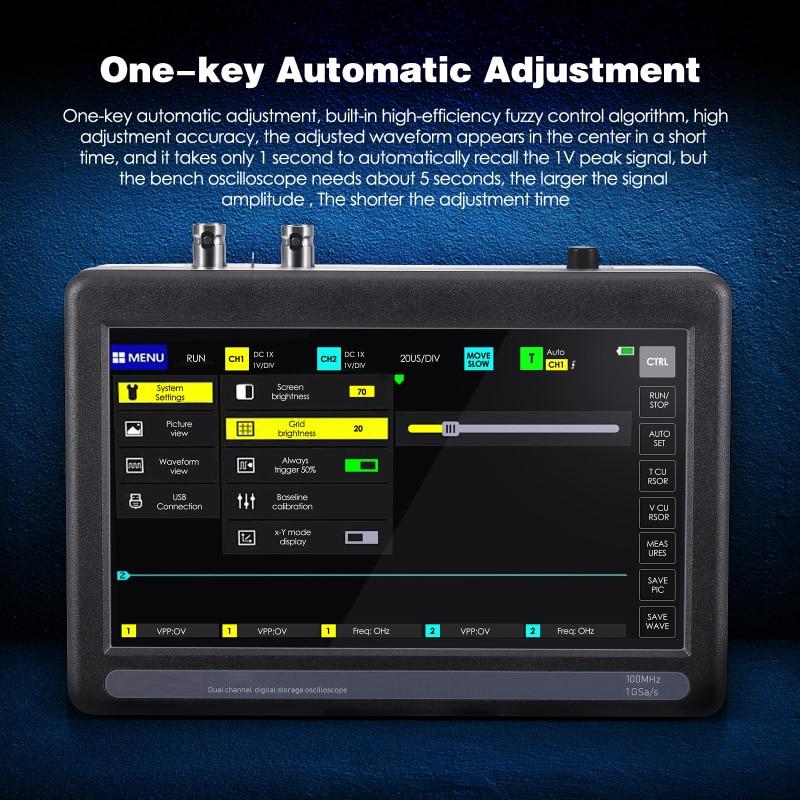 PRO Handheld Portable Digital Oscilloscope Full-touch 7-inch Large Screen 100MHz*2  Analog Bandwidth 1GSa/s Sampling Rate enlarge