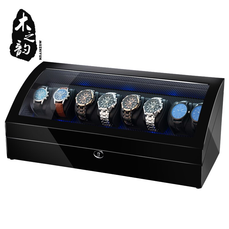 16 Automatic Watch Winder Box PU Leather Watch Winding Winder Storage Watch Box Collection Display Japanese Motor LED Light enlarge