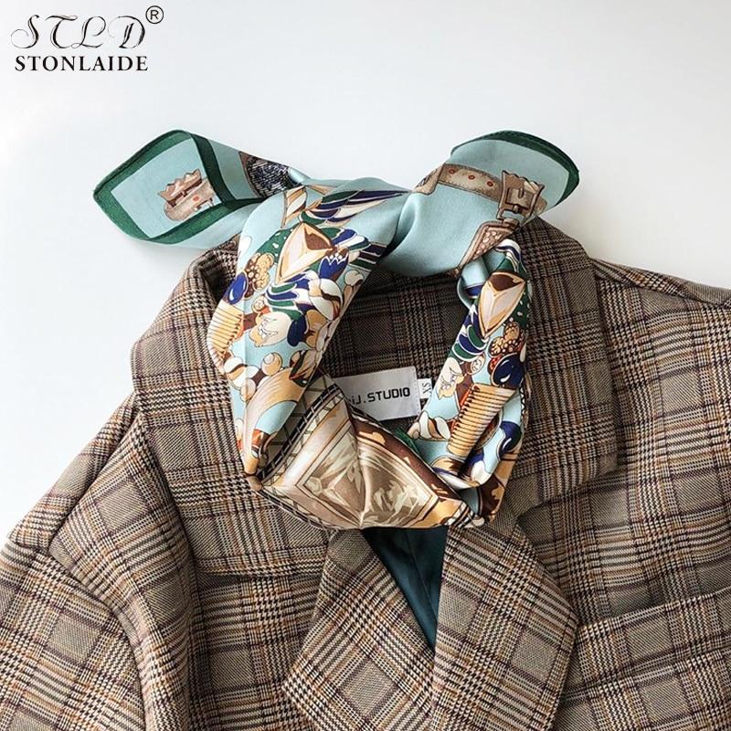 53X53CM Spring Autumn New 100% Mulberry Silk Small Square Scarf For Women Fashion Printing EURO Womens Neckerchiefs Hair