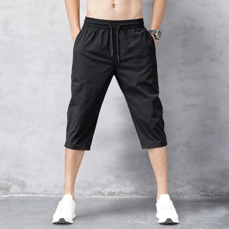 Male Bermuda Board Quick Drying Beach Black Men's Long Shorts Men's Shorts Summer Breeches 2020 Thin Nylon 3/4 Length Trousers