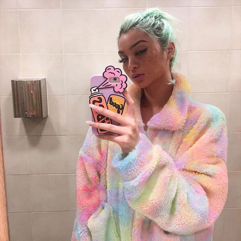 Casacos e jaquetas femininas de arco-íris, tintura de pelúcia polar, urbana, para inverno