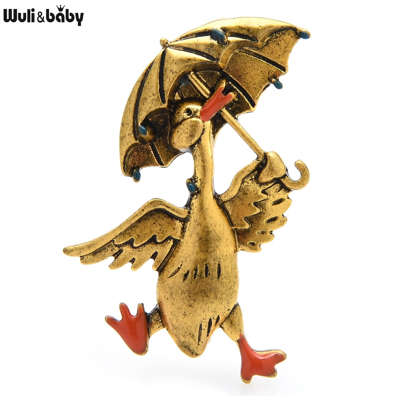 AliExpress - Wuli&baby Vintage Taking Umbrella Duck Brooches For Women Unisex 2-color Happy Walking Duck Animal Party Casual Brooch Pin Gifts