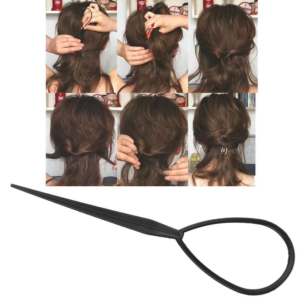2pcs/lot Plastic Ponytail Creator Loop Hair Styling Tools Set Soft Topsy Pony Topsy Tail Clip Hair Braid Maker