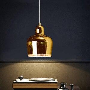 Nordic Pendant Lamp Living Bedroom Bedside Hanging Modern Restaurant Bar Study Bar Single Head Led Lighting Golden Decor Light