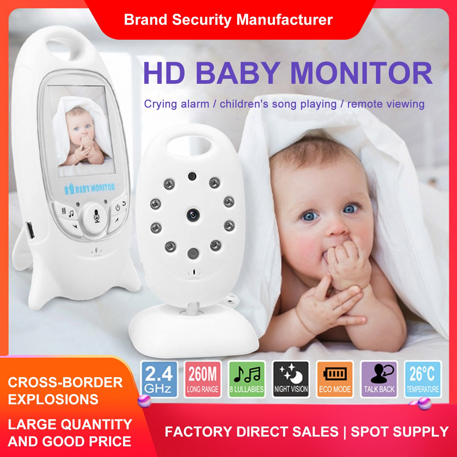 Baby Sleeping Monitor Color Security Video Wireless Baby Monitor Home Security Camera 2 Way Talk Night Vision LED Temperature Mo