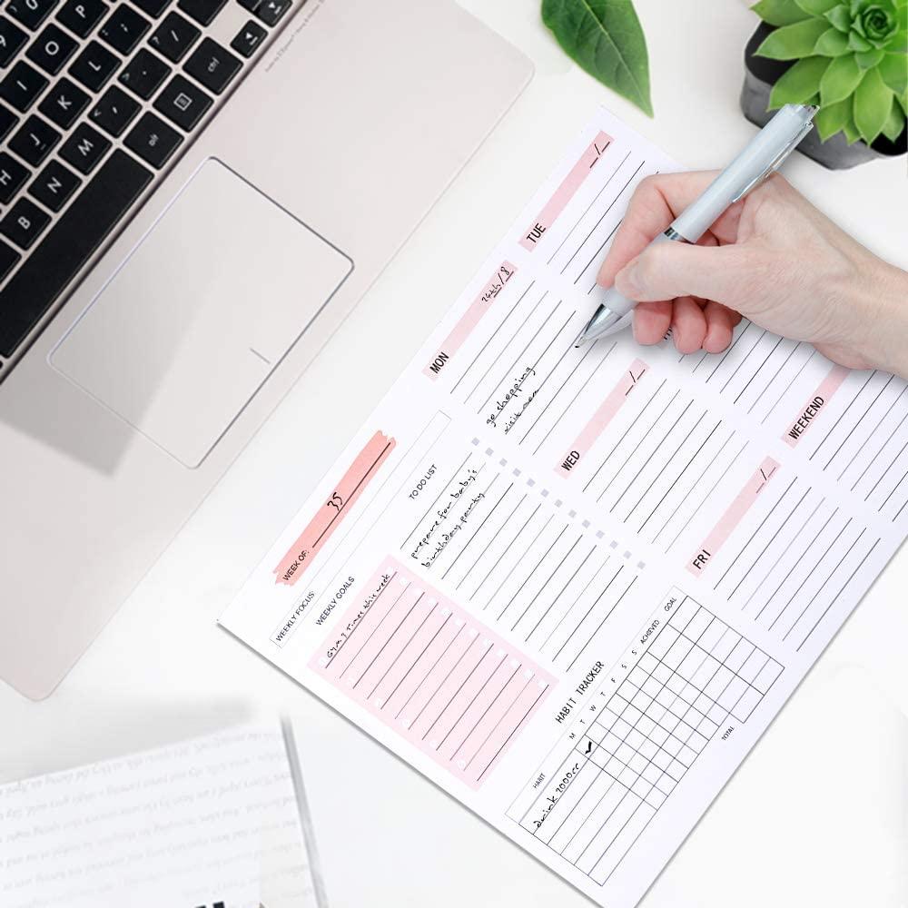 Planificador semanal diario sin fecha, Agendas de escritorio, Bloc de notas para la lista de artículos de papelería
