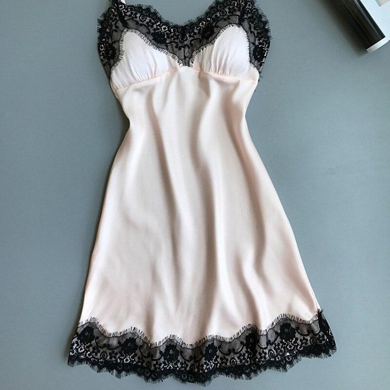 Hot Sexy Nightgown Dress Women Soft Ice Silk Summer Lace Night Dress Sleepwear Babydoll Nightie Satin Homewear Chest Pad skirts