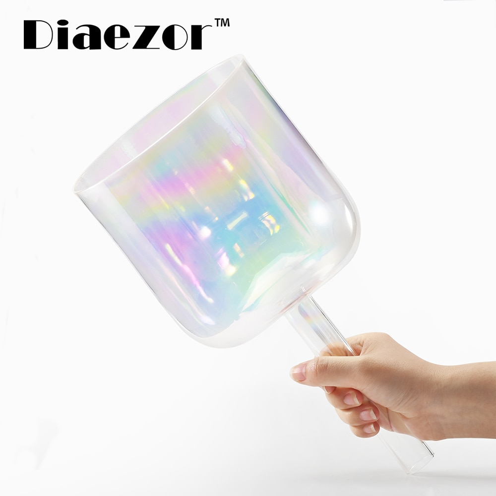 Diaezor 6 Inch Clear Chakra Cosmic Light Alchemy Magic Crystal Handle Singing Bowl for Meditation healing with Carrying Case enlarge