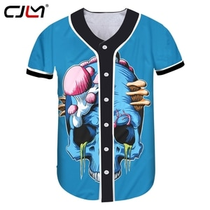 CJLM New 3D Blue Skull Man Baseball Shirt Printed Scary Brain Pattern Mens Hip Hop Tshirt Hot Sale Unisex T-shirt Recommend