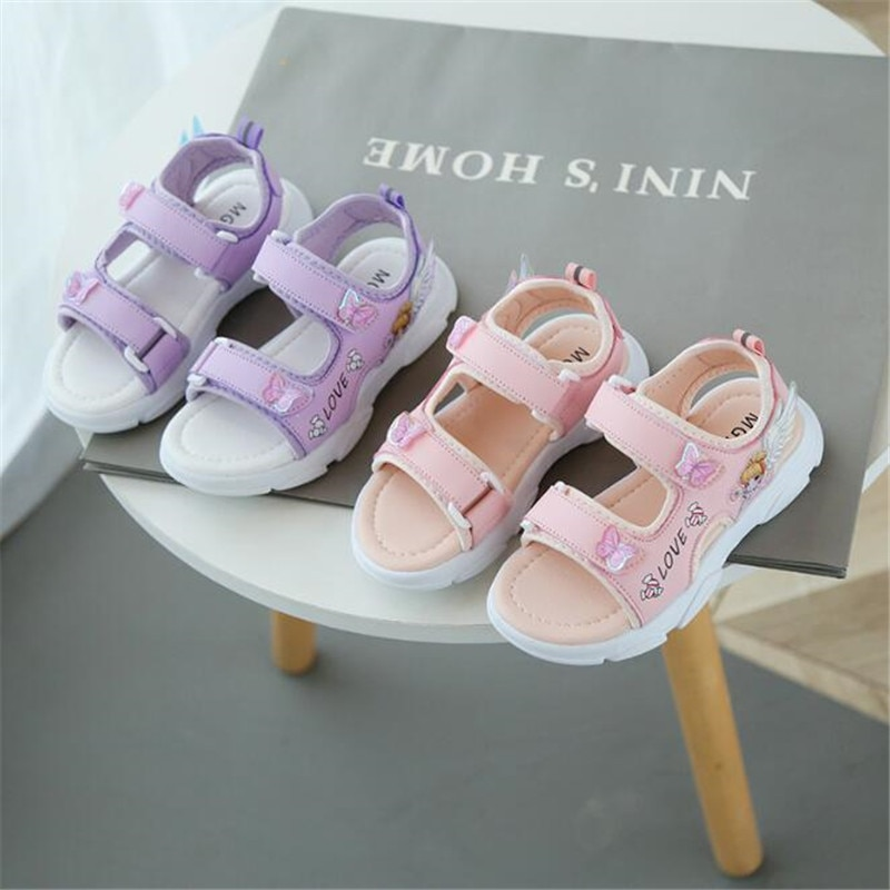 2021 summer new sandals casual fashion Beach Shoes Pink lovely princess shoes Velcro soft bottom non