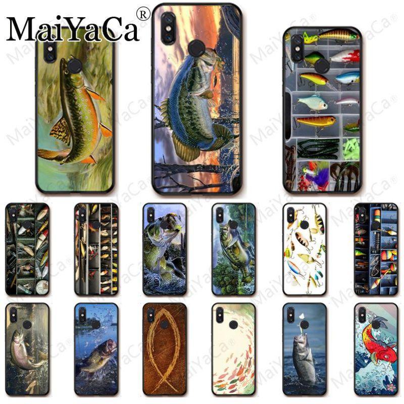 Fisch springen von wasser Holz Angeln Tackle Box Angeln Telefon Fall Für redmi 5A 7 7a 8 note5 note7 note8pro note6pro Handys