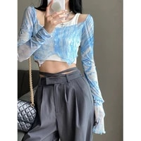 design blue tie dye tops for women short oblique shoulder vest see through y2k sexy crop top party slim sunproof clothing