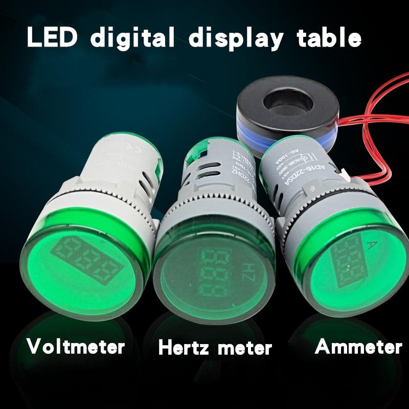 22MM AD16-22DSV tipo AC DC5-500V Mini medidor de voltaje LED pantalla Digital indicador voltímetro luz lámpara amperímetro frecuencia Hertz