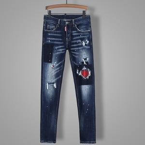 2021 Hot  new Men's pants Dsquare ripped patch painted varnished men's   Hole in the street d2  jeans