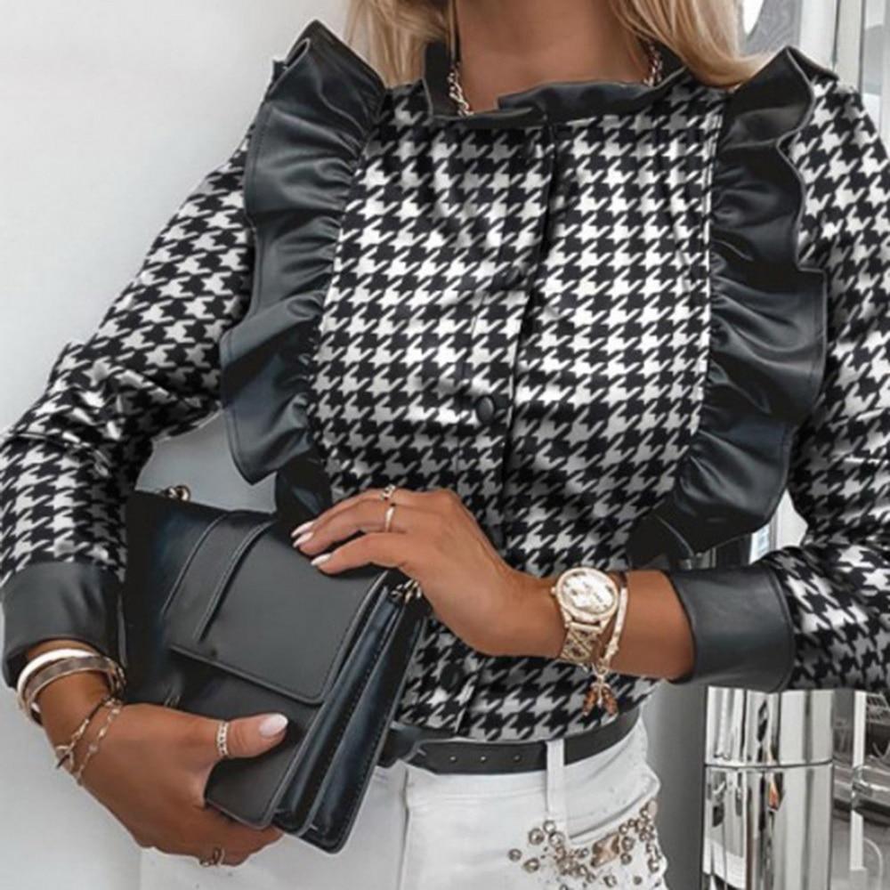 Рубашка женская с принтом, модная Повседневная Кардиган в черную клетку, пикантная элегантная облегающая офисная рубашка с воротником с оборками, на весну-осень