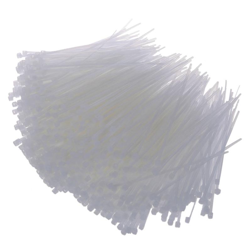 1000 Uds. Abrazadera de plástico blanco con cierre de cremallera 95mm x 2mm