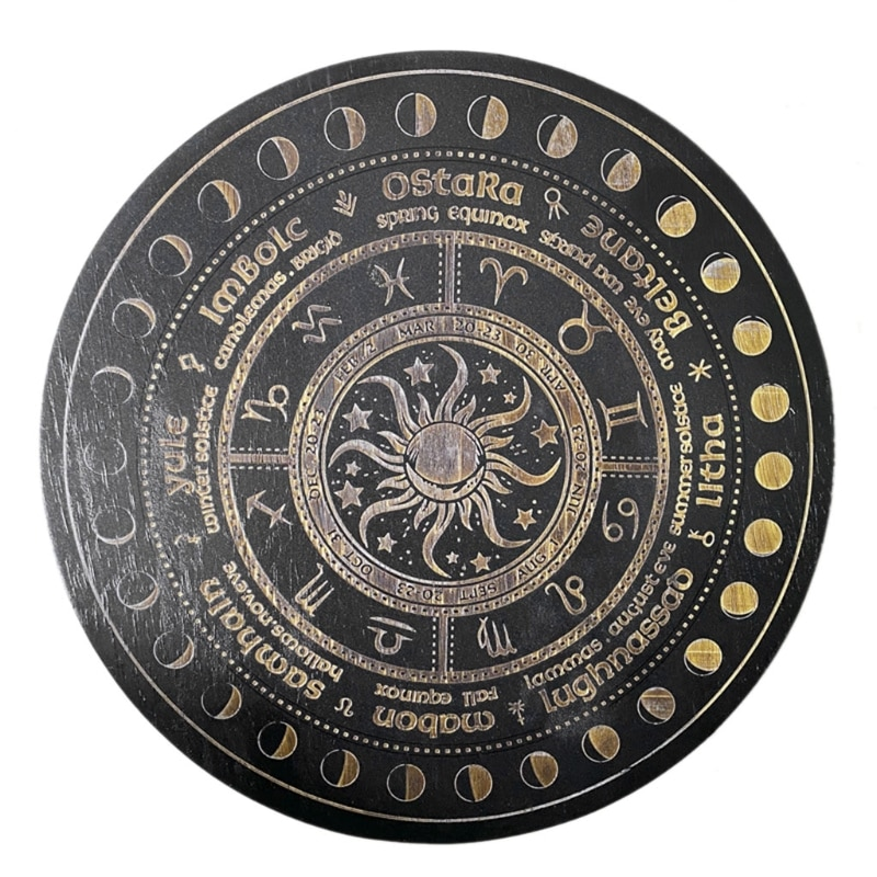 Crystal Energy Disk Witch Divination Pendulum Board Annual Ring Oak Carving Astrolabe Altar Pendulum Prayer Ritual Props